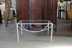 White Lacquer and Bent Steel Coffee Table