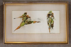 Watercolor and Ink of Dancing Figures Signed Walter Peregoy