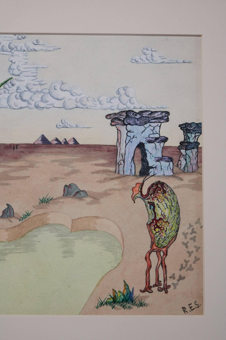 Surrealist Landscape Watercolor Signed R. E. Schwelke and Dated 1947 In Excellent Condition For Sale In Pasadena, CA