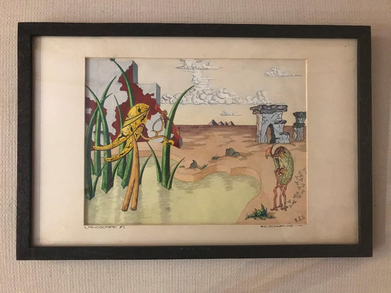 Framed colorful surrealist watercolor, signed by artist R.E. Schwelke in 1947. Titled