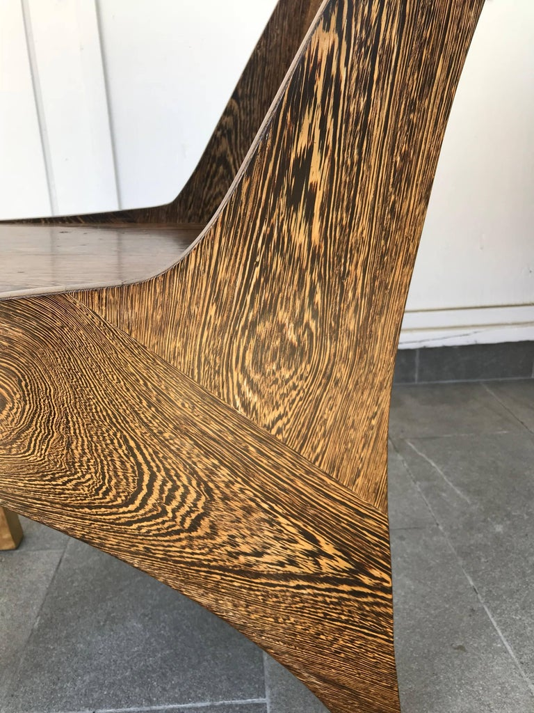 American Butterfly Solid Wenge and Zebra Wood Chair For Sale