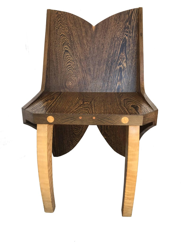 Butterfly Solid Wenge and Zebra Wood Chair For Sale 5