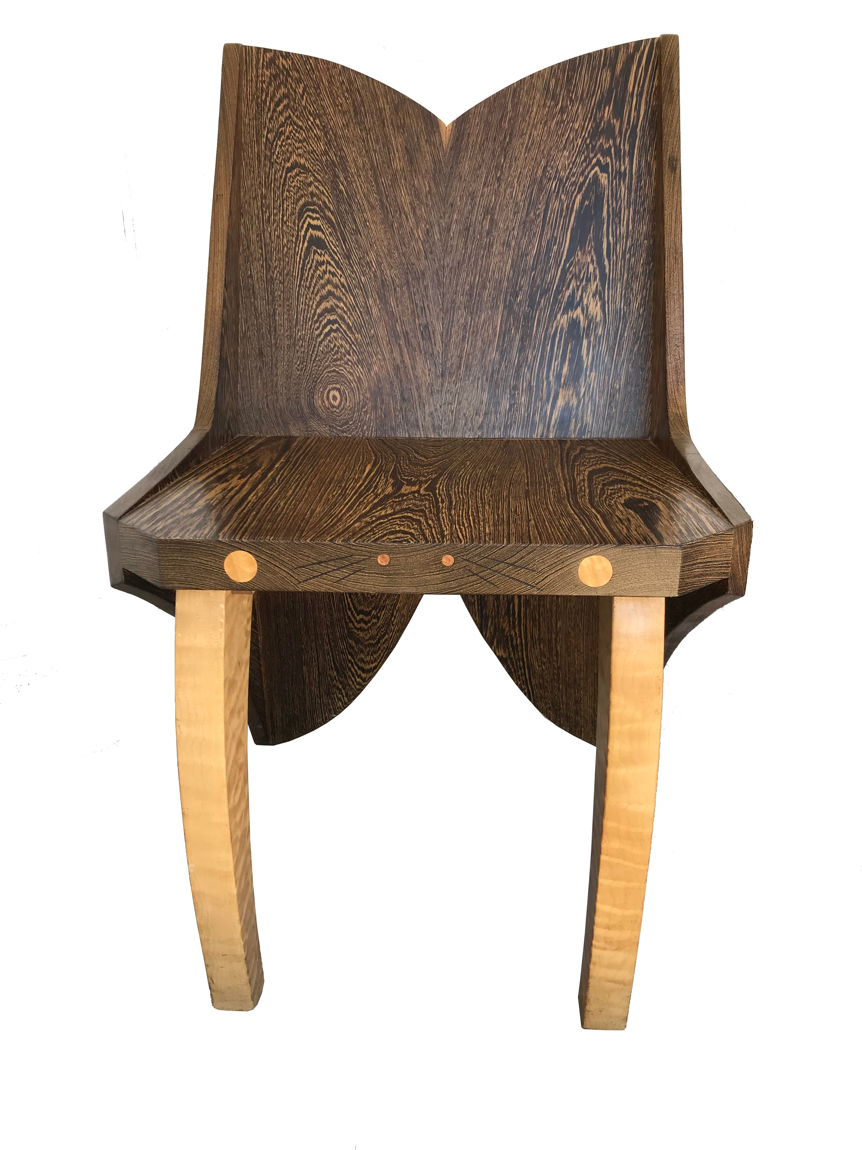 Butterfly Solid Wenge And Zebra Wood Chair For Sale At 1stdibs
