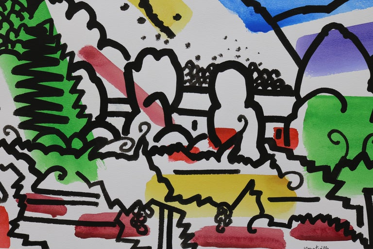 Mid-Century Modern Colorful Watercolor by James McCray #1 For Sale