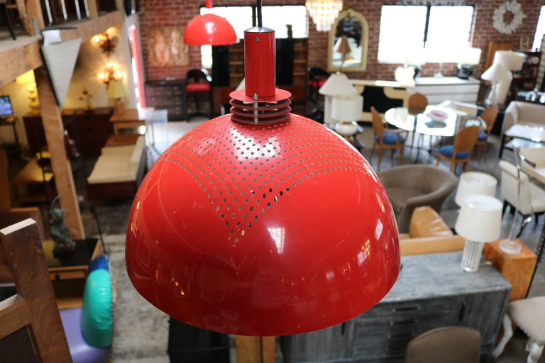 Mid-Century Modern Pair of Vintage Red Pendant Lamps For Sale
