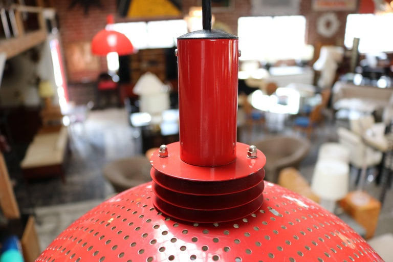 American Pair of Vintage Red Pendant Lamps For Sale