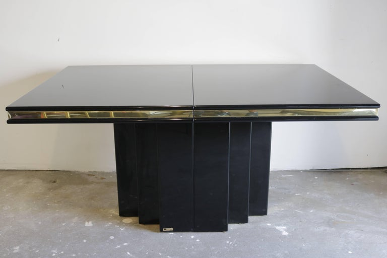 Canadian Brass and Black Lacquer Dining Table by Roger Rougier For Sale