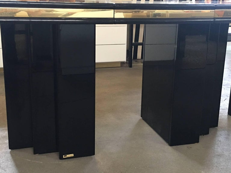 Brass and Black Lacquer Dining Table by Roger Rougier In Excellent Condition For Sale In Los Angeles, CA
