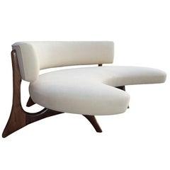 Midcentury Floating Curved Walnut Sofa