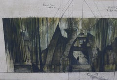 "Unique 2002 Set Design Original Sketch Landscape for ""Dinotopia"""