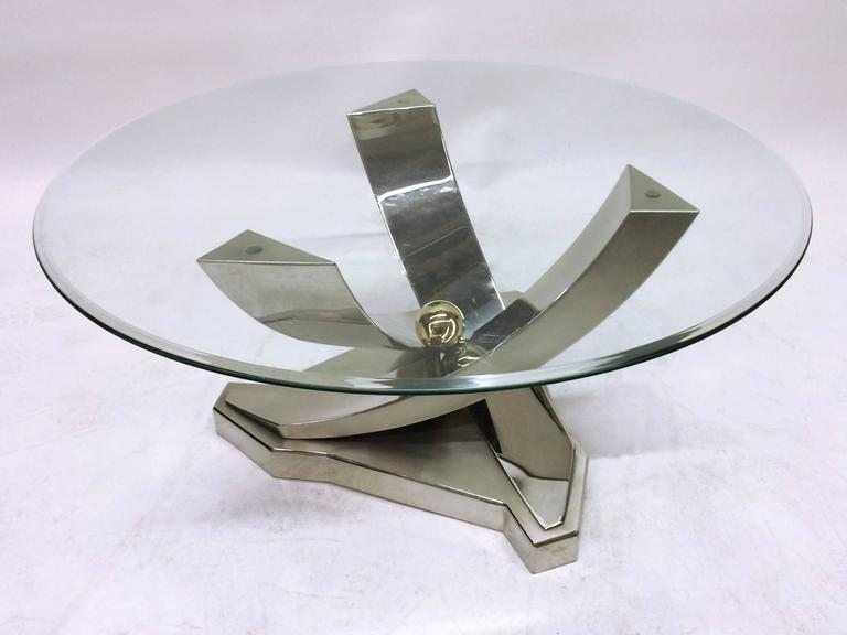 mix of polished chrome brass and brushed stainless steel coffee table 3