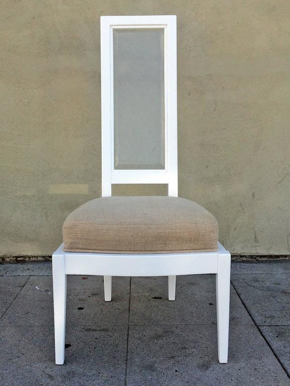Lacquered Set of Four 1970s White Lacquer and Lucite Dining Chairs For Sale