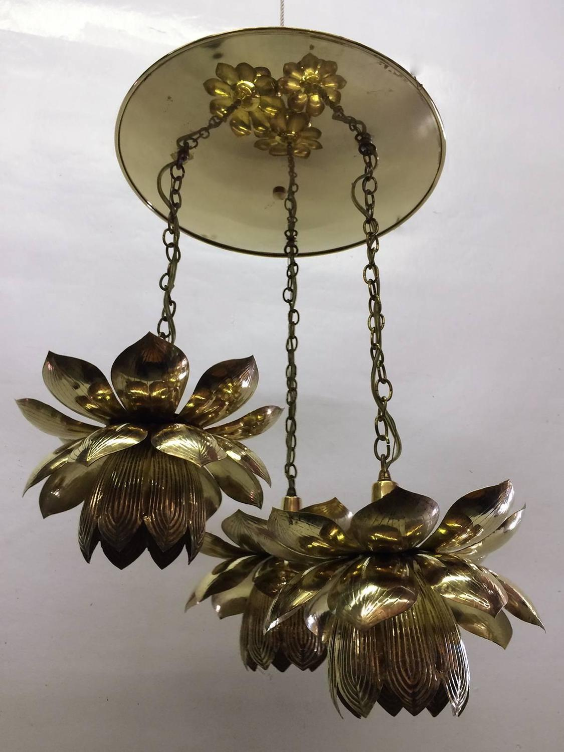 Three Pendant Light Lotus Brass Chandelier By Feldman At