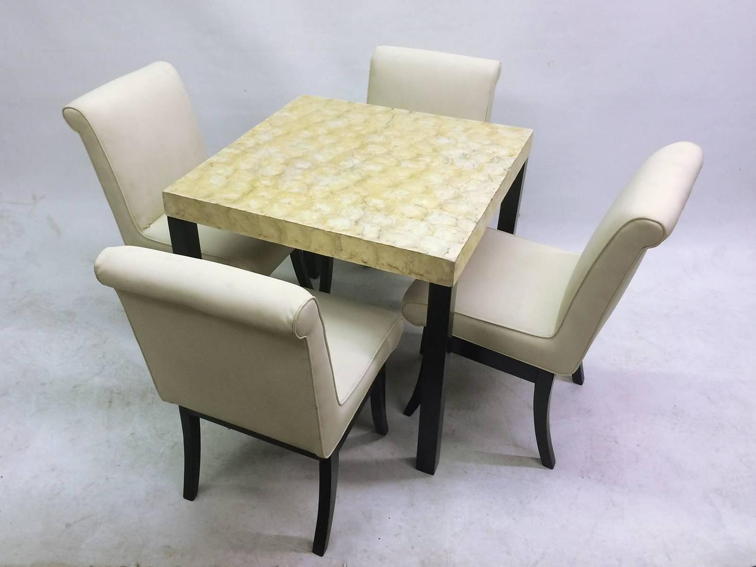 VKG Dining Or Game Set With Abalone Top Table And Four Chairs For Sale At 1st