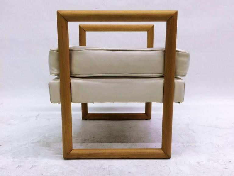 Milo Baughman Ottoman With Maple Cubed Legs At 1stdibs
