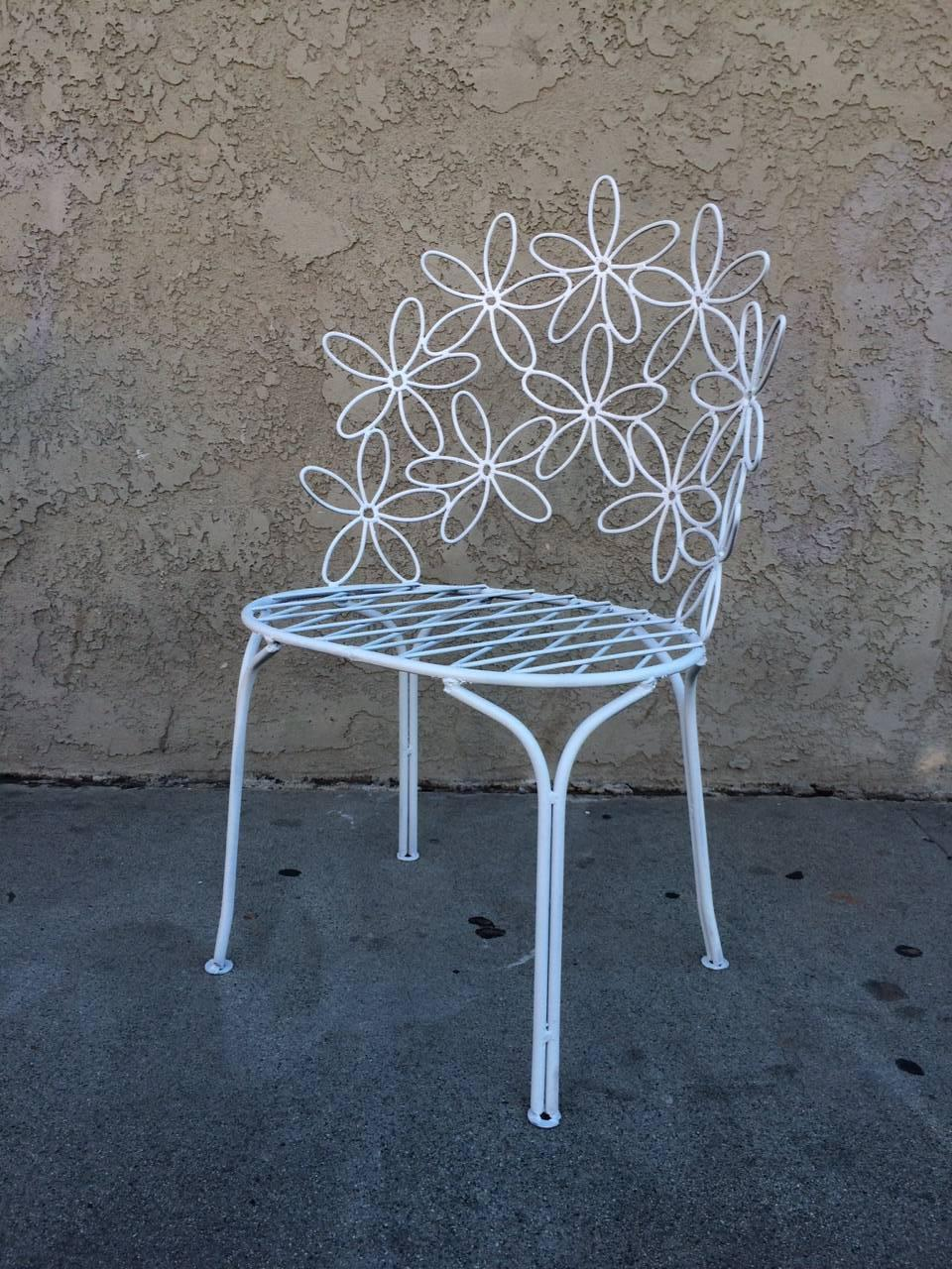 Charming Wrought Iron Patio Chairs and Table For Sale at 1stdibs