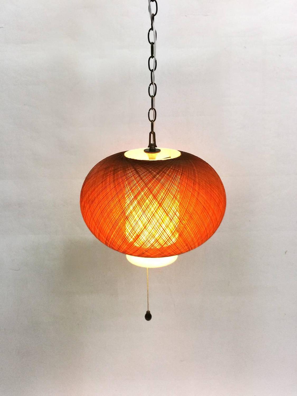 Pendant light shade plastic : Vintage pendant with amber fiberglass and plastic shade