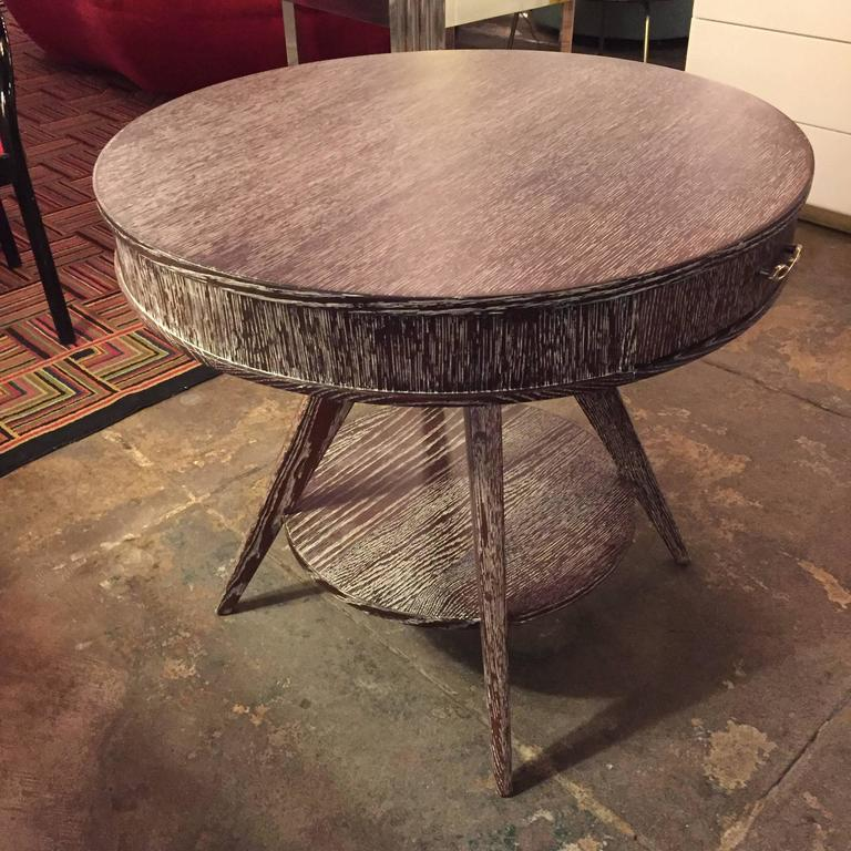 French 1950s Brown Cerused Occasional Table At 1stdibs