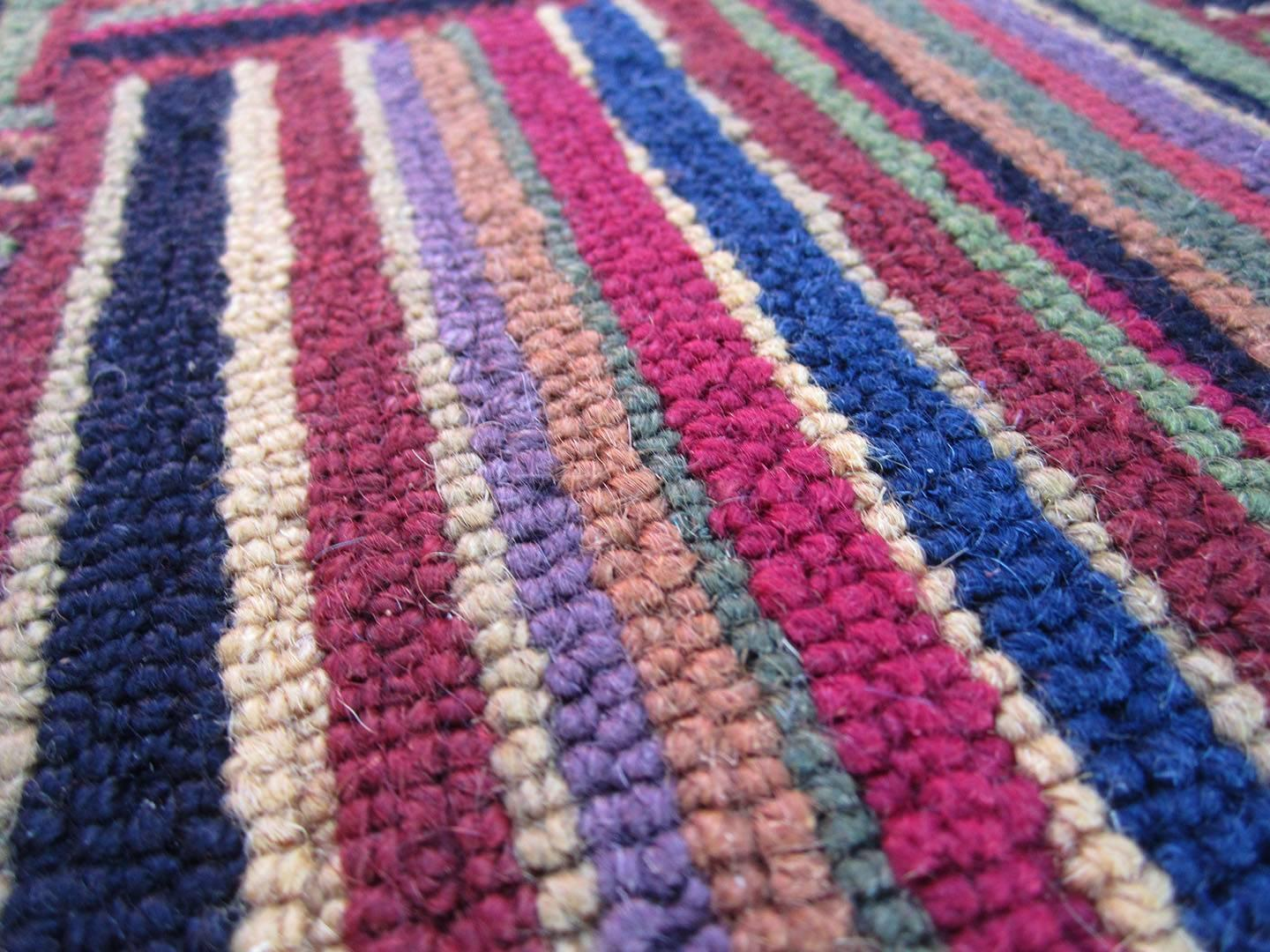 Large Multicolored Rug With Basket Weave Pattern For Sale