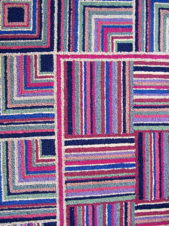 Large Multicolored Rug With Basket Weave Pattern At 1stdibs