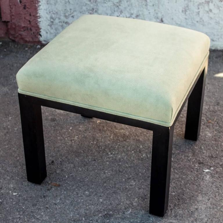 Pistachio Green Leather Sofa: Pair Of Pistachio Green Upholstered Ottoman Or Low Stools