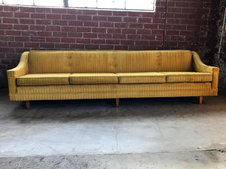 1960s Harvey Probber Sofa Upholstered In Gold Velvet Corduroy Fabric.  Wooden Legs.