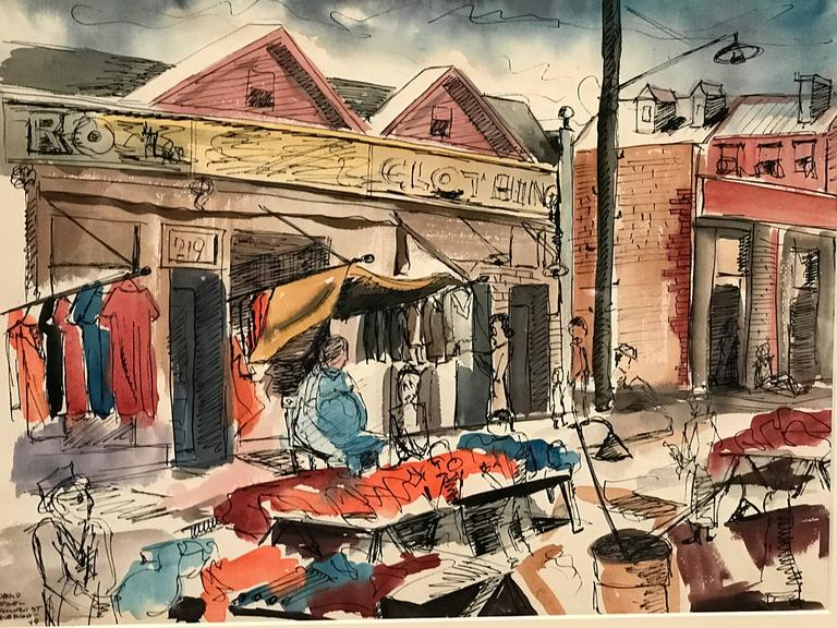 Watercolor painting of an outdoor market on Maxwell Street in Chicago by Artist David Segel. Signed and dated '49.  It sits in its original gilded frame.  Please contact us regarding availability of additional work by the artist. David Segel is an