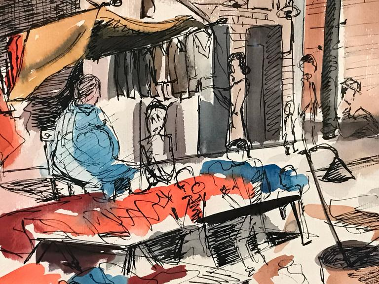 Mid-Century Modern The Farmer's Market Maxwell Street Chicago Painting by David Segel For Sale