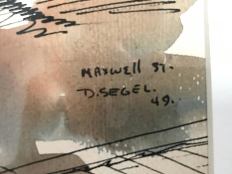 Watercolor of Maxwell Street in Chicago by David Segel In Excellent Condition For Sale In Los Angeles, CA