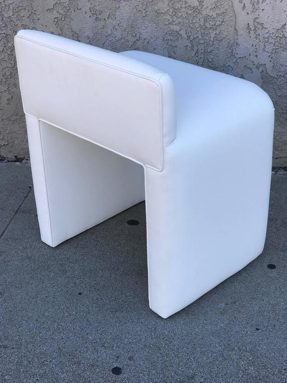 White Leather Vanity Stool At 1stdibs