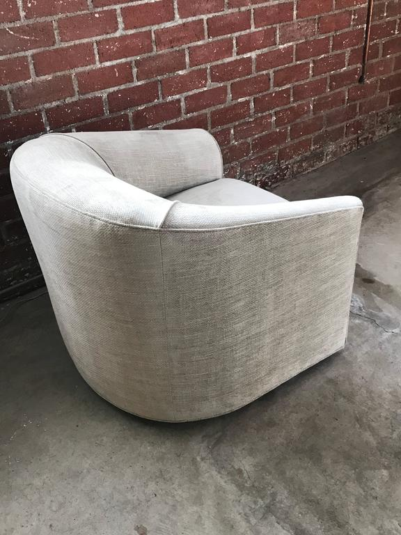 Mid Century Modern Pair Of Gray Upholstered Barrel Swivel Chairs For Sale