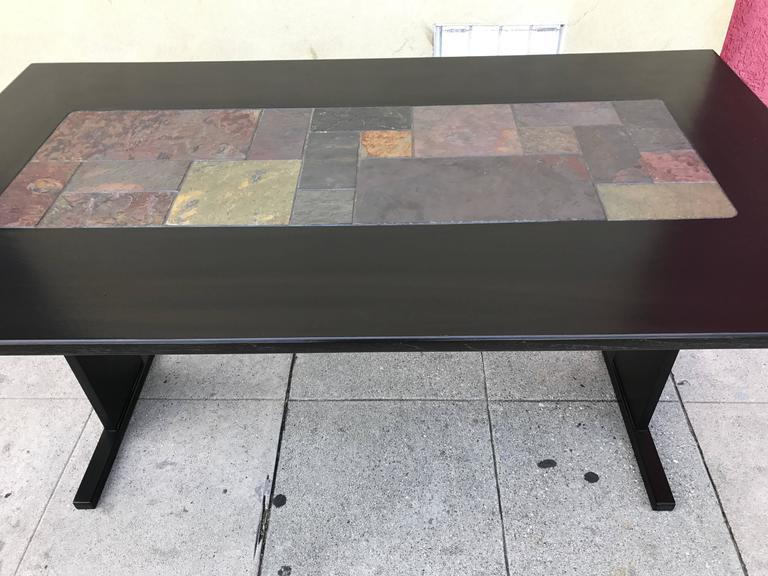 Chic Ebonized Slate Tile Topped Danish Dining Table For Sale at 1stdibs