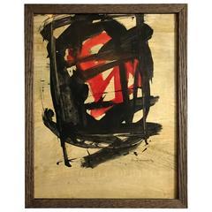 Small Abstract Painting on Board by Santamaria