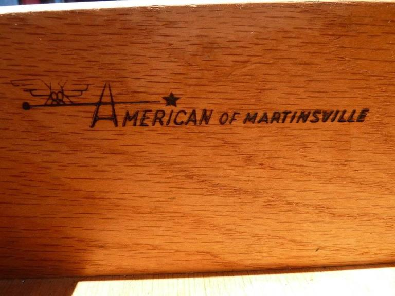 Brass Walnut Nightstands by American of Martinsville, Pair For Sale