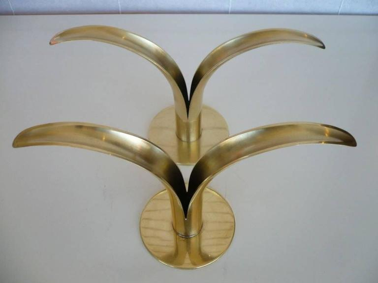 Pair of Swedish Mid-Century Split Leaf Candle Holders for Ystad Metal In Excellent Condition For Sale In Los Angeles, CA