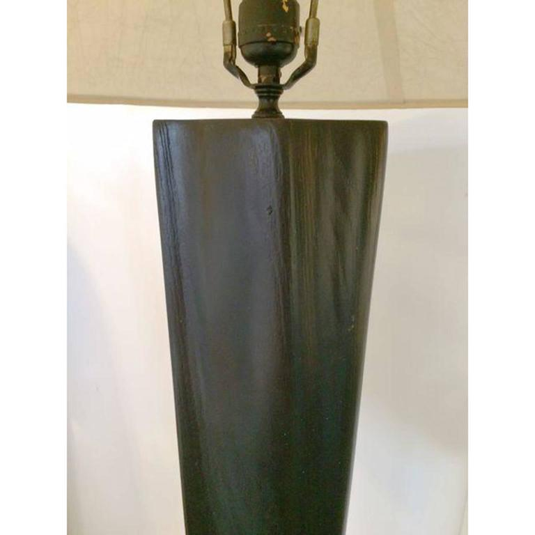 Black Lacquer Carved Wood Floor Lamp 5