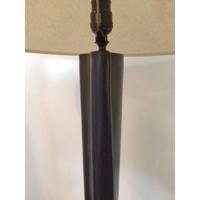 Black Lacquer Carved Wood Floor Lamp 7