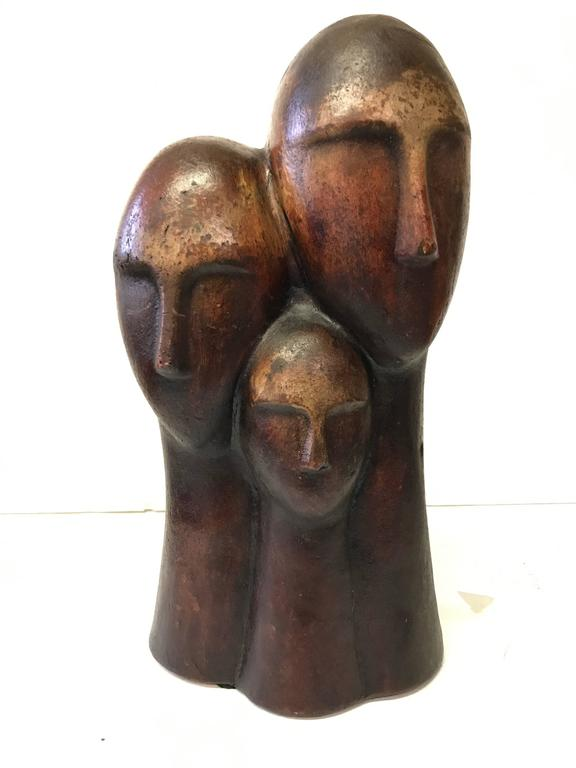 American Figurative Terracotta Sculpture of Family For Sale