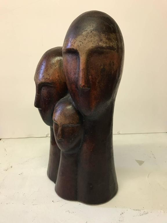 Figurative Terracotta Sculpture of Family In Excellent Condition For Sale In Culver City, CA