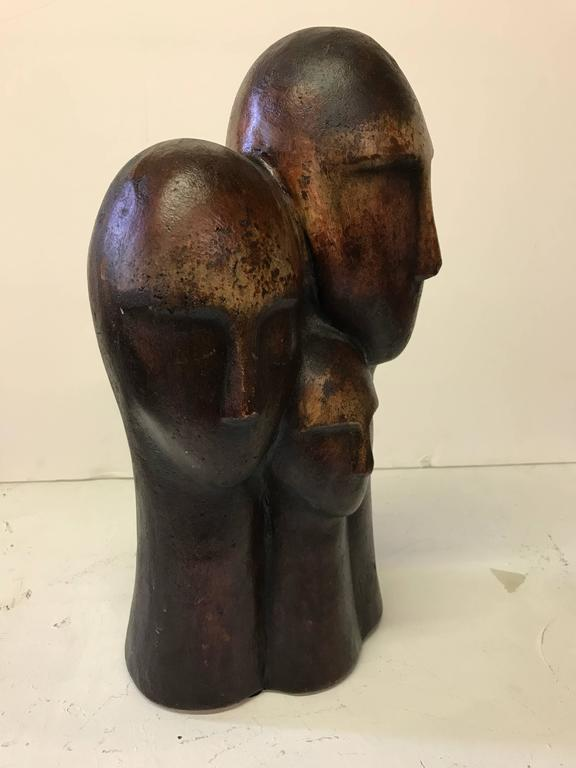 Mid-20th Century Figurative Terracotta Sculpture of Family For Sale
