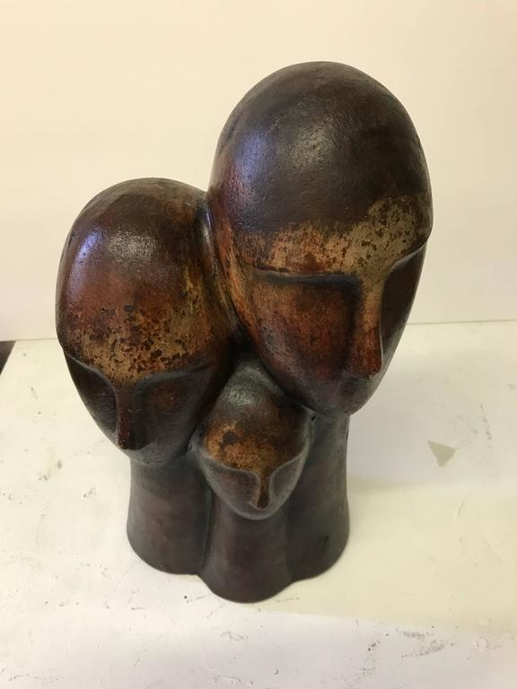Figurative Terracotta Sculpture of Family For Sale 2