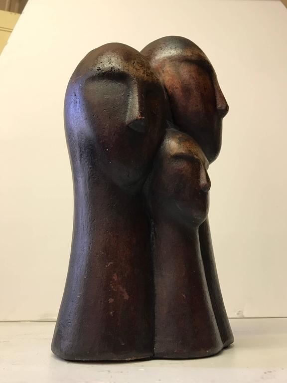 Mid-Century Modern Figurative Terracotta Sculpture of Family For Sale