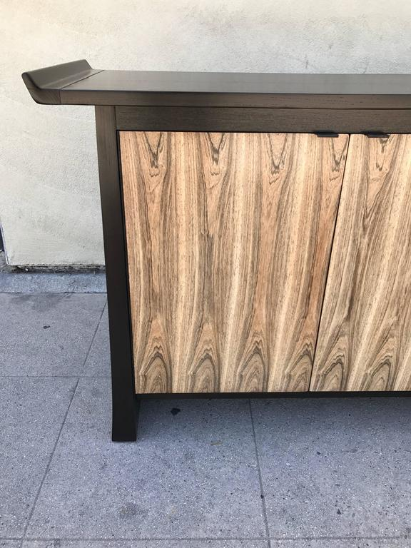 Bleached Two-Tone Asian Flair Walnut Sideboard by Bernhardt For Sale