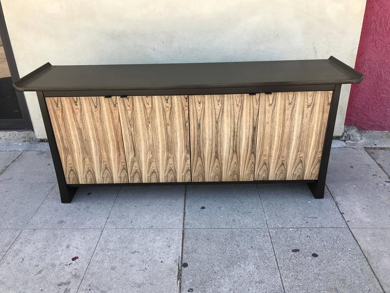 American Two-Tone Asian Flair Walnut Sideboard by Bernhardt For Sale