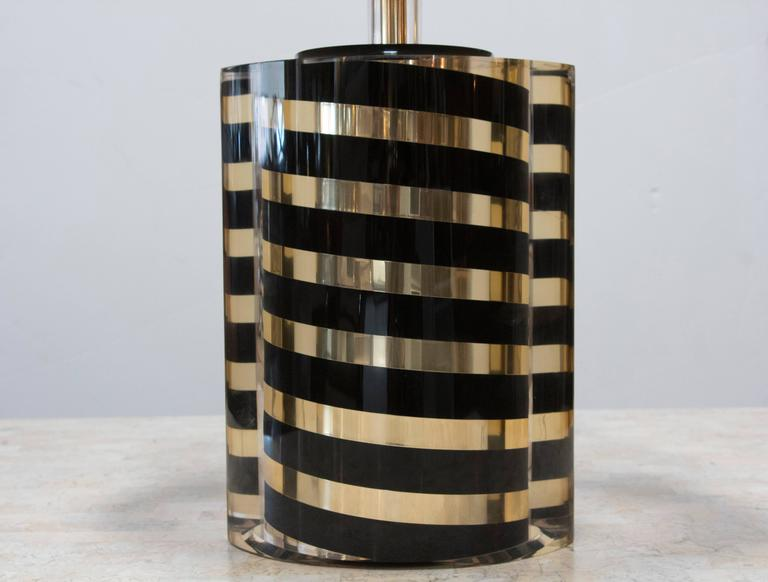Black and Gold Striped Lucite Lamp 2
