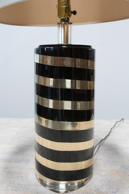 Black and Gold Striped Lucite Lamp 3