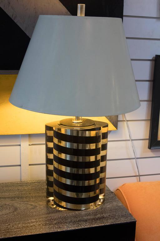 Black and Gold Striped Lucite Lamp 6