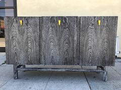 Three Door Cerused Walnut Credenza