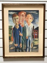 Three Men Gouache Painting by David Segel