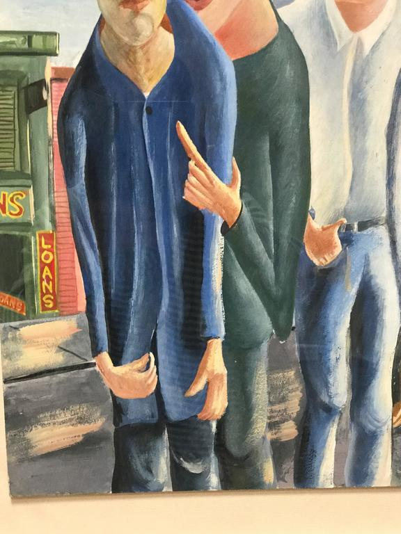 American Three Men Gouache Painting by David Segel For Sale